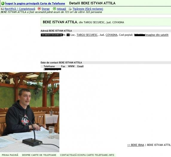 Cascadorii rasului la SRI si DIICOT: Beke Istvan Attila - teroristul cu artificii de tort, cu poza, adresa, cod postal, imagine din satelit si numar de telefon